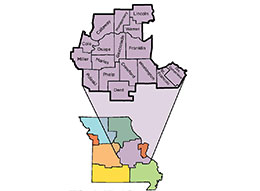 Link to a map of MU Extension's east central region