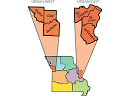 Link to a map of MU Extension's east and west urban regions