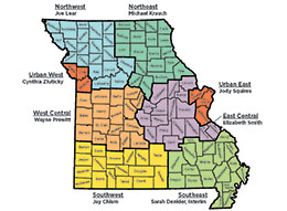 Link to a map of Missouri showing MU Extension regions and directors