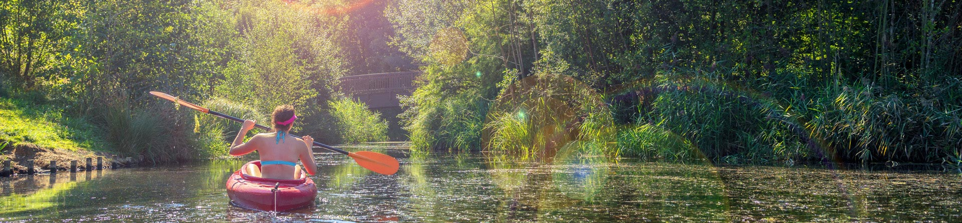 Girl kayaking on a river