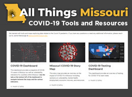 Screenshot from All Things Missouri COVID-19 Tools and Resources website