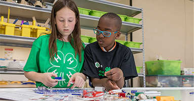 Two 4-H kids working on project