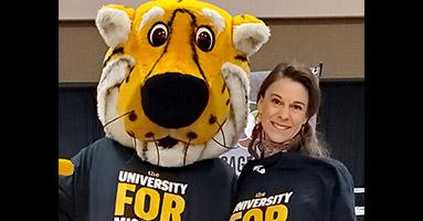 Jennifer Eldridge Houser with Truman the Tiger