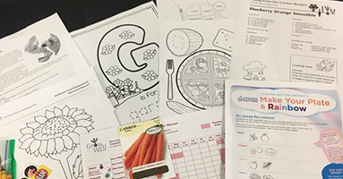 Activity pages from mail packets
