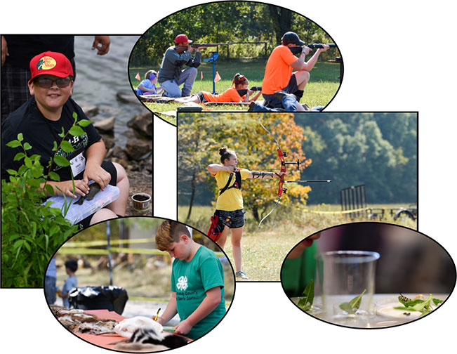Collage of photos of kids participating in outdoors and nature activities