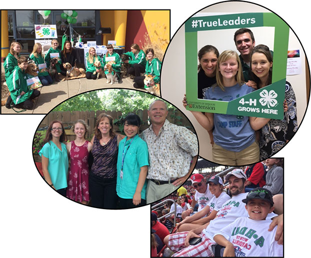 Collage of photos of kids participating in 4-H programming.