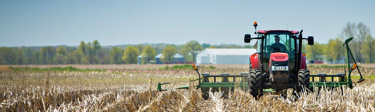 Tractor doing spring no-till corn planting