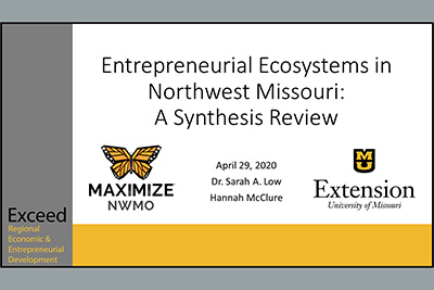 Maximize Northwest Missouri's business card