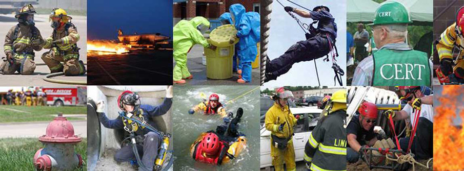 Collage of fire and rescue training scenes