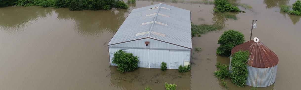 Aerial view of flooded farmland