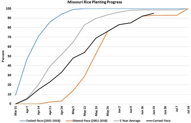 Missouri rice planting progress chart starting March 2019