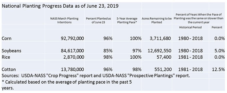 Chart of planting pace for corn, soybeans, rice and cotton as of June 23, 2019