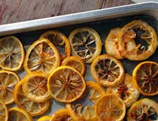 Drying oranges on a cookie sheet