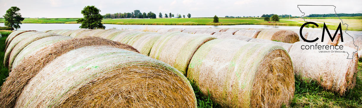 Hay bales in a field with Crop Management Conference logo