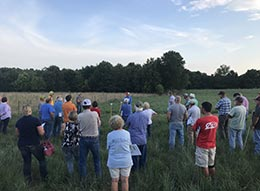 Group in field linking to pasture walk and talk event