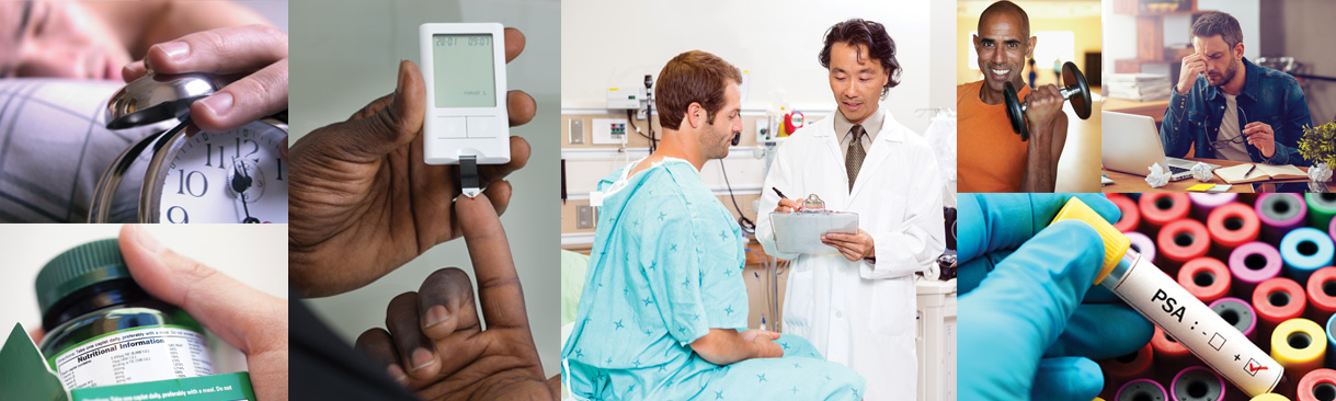 images of men's health related issues; blood testing for diabetes, medical check up, etc.