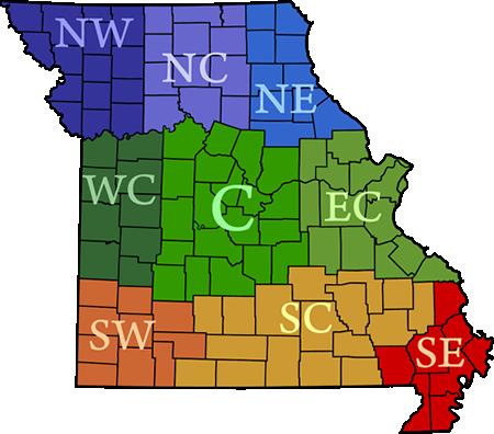 Map of Missouri crop progress districts