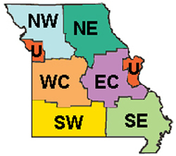 Missouri map by regions