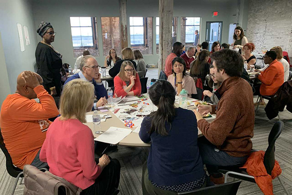 Community building organizations gather together at the Greencubator to envision ways organizational leaders can better support each other.