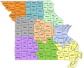 Missouri map with counties showing Show-Me-Select Program regions