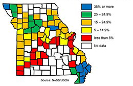Link to a tabular version of a Missouri map showing the percentage of county land area planted with soybean in 2017.