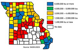 Link to a tabular version of a map showing range of bushels produced in each Missouri county in 2017.