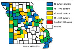 Link to a tabular version of a map showing range of average bushels per acre yield in each Missouri county in 2017.