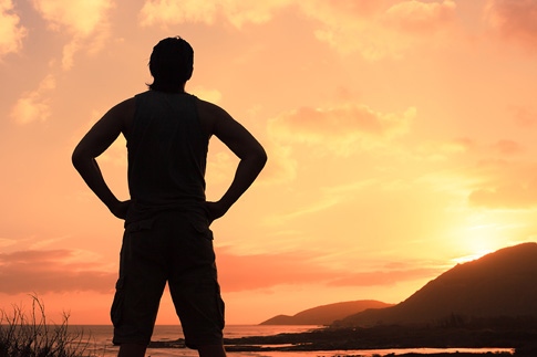 Man viewing sunset