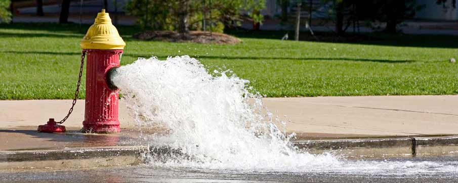 water gushing from a fire hydrant