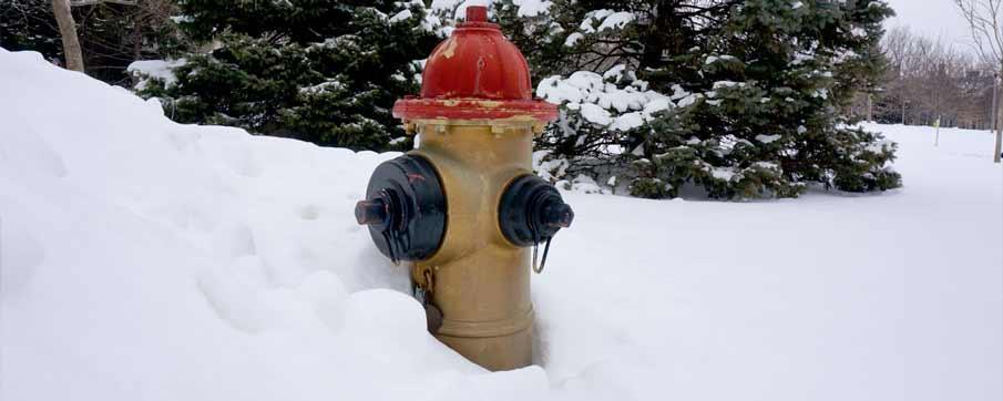 fire hydrant on a snowy street